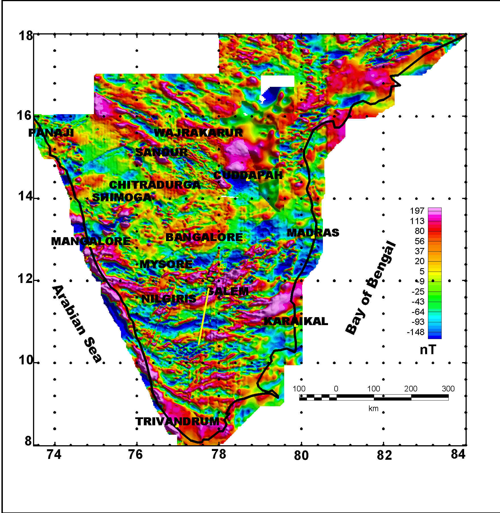 Geological Map Of India.Crustal Structure Of South India From Aeromagnetic Data